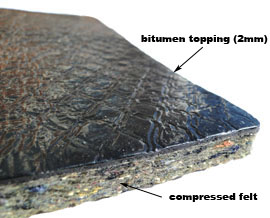 noise insulation pads, felt with bitumen